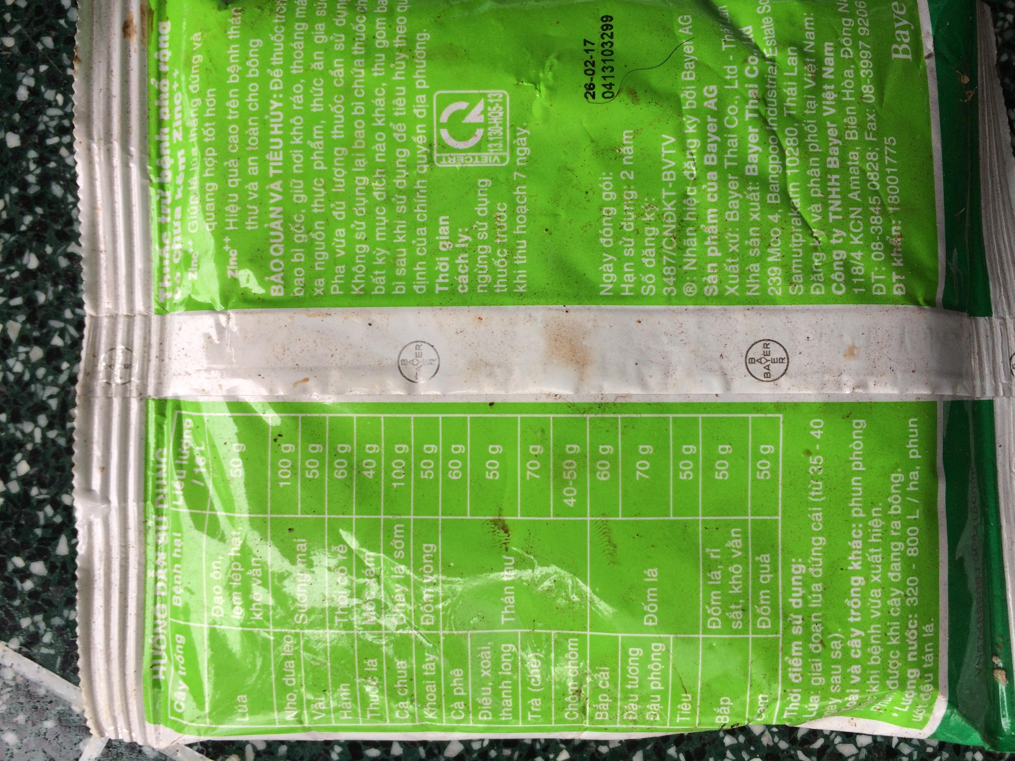 Antracol 70WP - thuốc trừ nấm bổ sung vi lượng kẽm