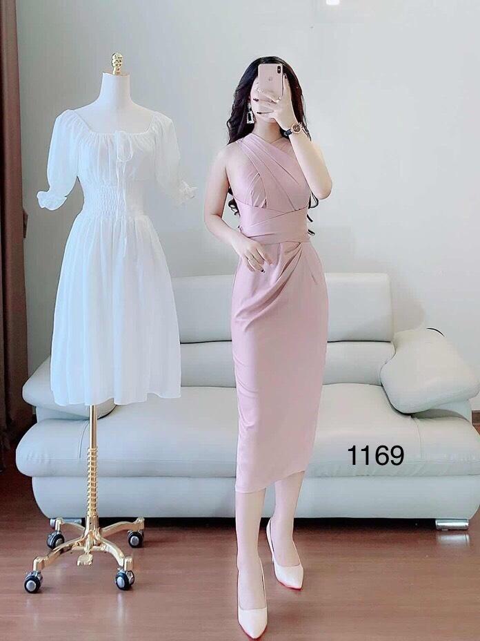 Váy hồng hở lưng V1169 - Ảnh mẫu và ảnh thật trải sàn do shop tự chụp