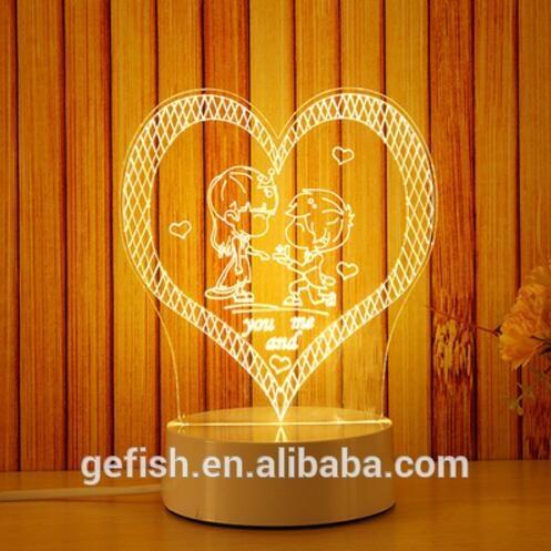 Đèn ngủ 3d ánh sáng sáng tạo mẫu cầu hôn