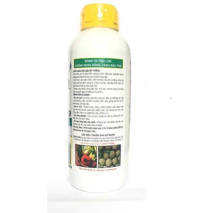 Phân bón lá cao cấp Growmore HUMER H1 HUMIC ACID SOIL BUILDER 322 , Humic 322 tốt cho mọi cây trồng chai 1 lít.