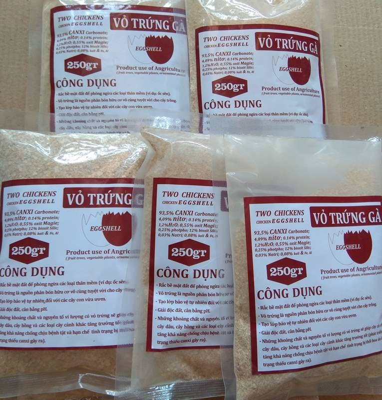 Vỏ trứng gà bổ sung canxi và các khoáng chất cho cây - 250 gram/ 1 gói