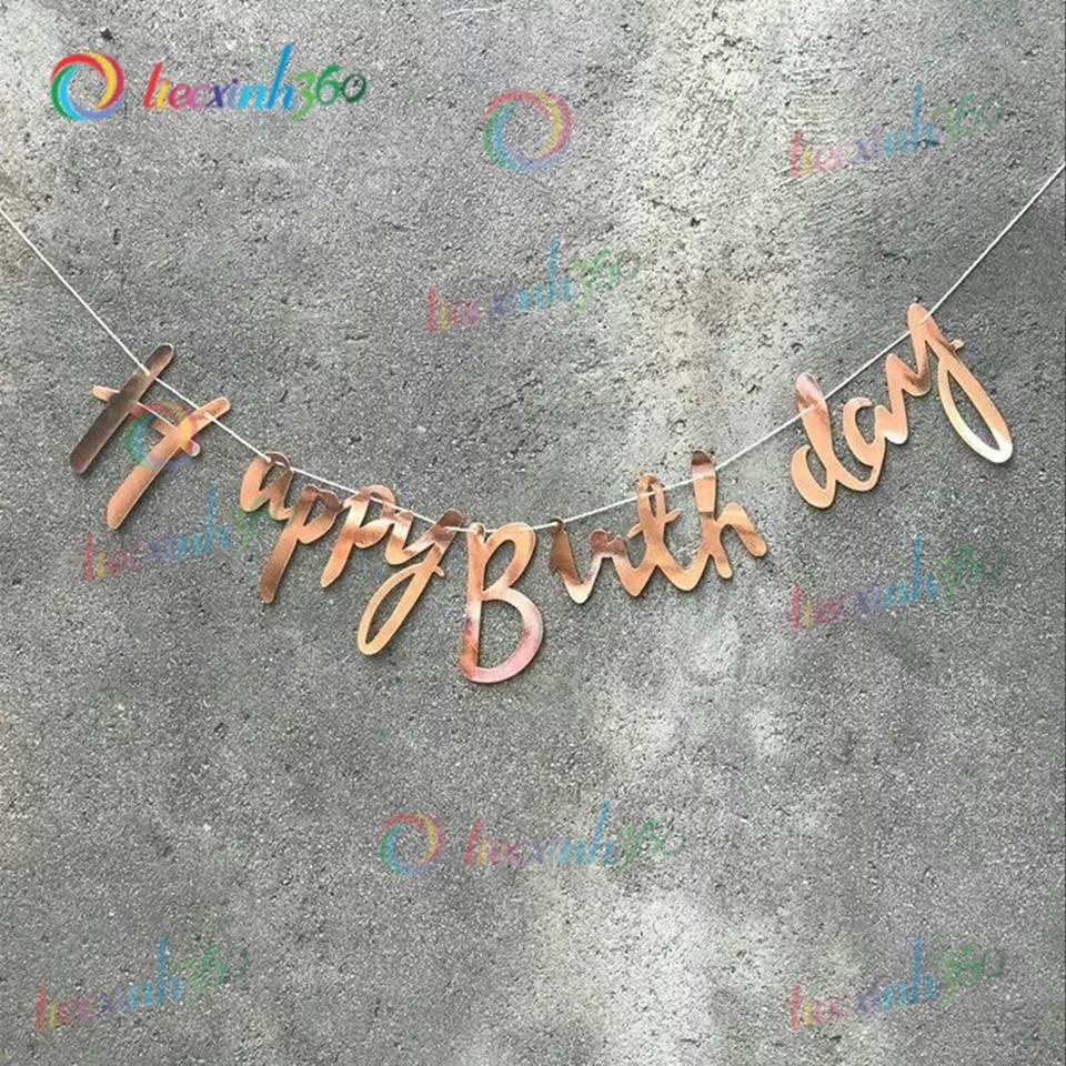 Dây chữ Happy Birthday nét kiểu - Vàng Đồng