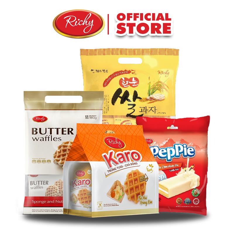 Combo Bánh tươi Karo Hoàng Kim, Bánh gạo Hàn Quốc gói lớn, Bánh bơ trứng RICHY và Túi Peppie vani