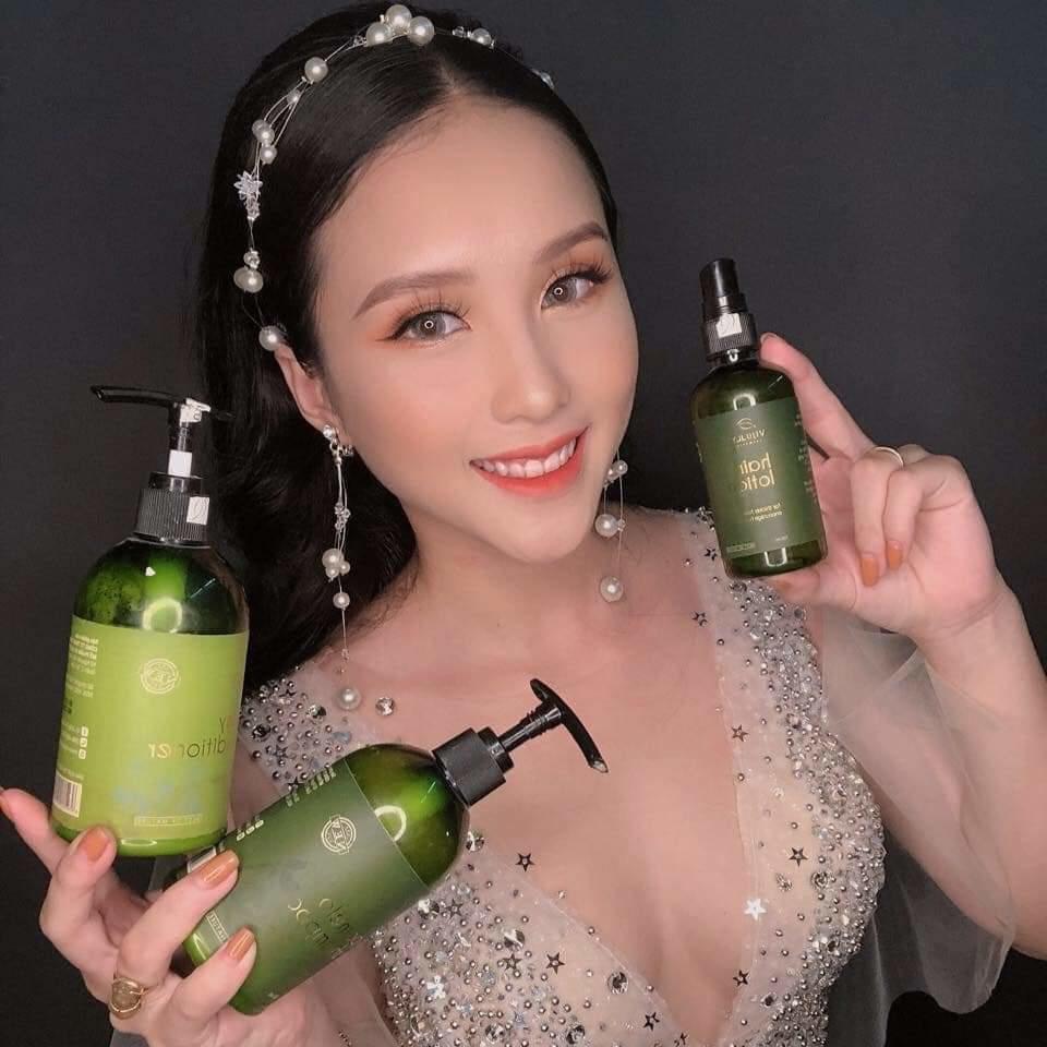 [ Tặng Ví Nữ ] Combo Chăm Sóc Tóc Gội Bưởi - Tinh Dầu Bưởi & Dầu Xả Dừa  Vi Jully