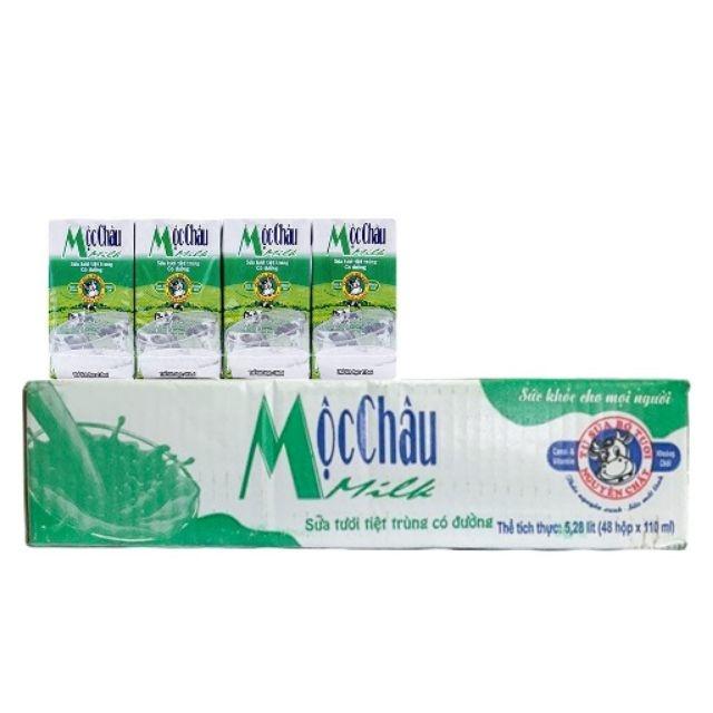 Sữa Tươi Tiệt Trùng Mộc Châu Có Đường Thùng 48 Hộp x 110ml