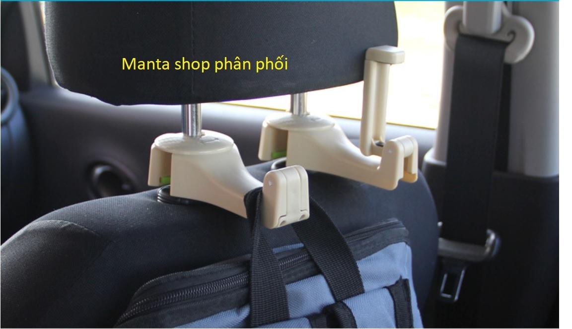 Móc treo đồ ô tô có thể gắn điện thoại để xem video hàng ghế sau - Màu Kem