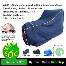 Bạt phủ trùm xe máy che mưa nắng các dòng thông dụng hiện nay - HMVL-BatXeMay-XD (Nhiều màu)