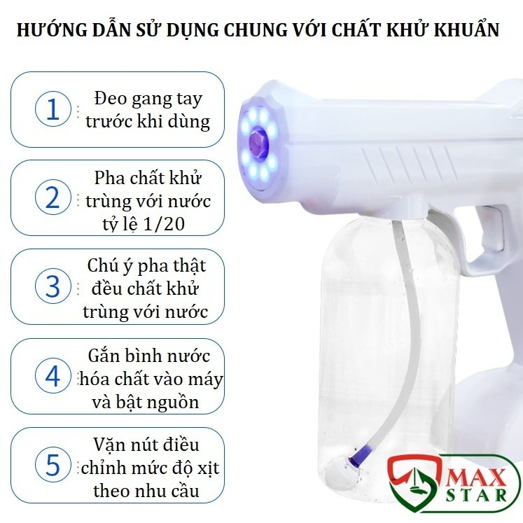 Súng phun khử trùng NANO Cầm tay tiệt trùng diệt khuẩn bằng tia UV HOT