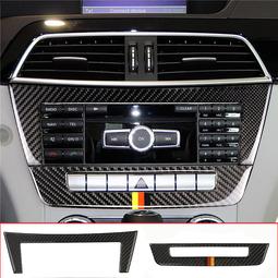 Bộ Miếng dán Carbon dán trang trí viền thanh điều khiển CD và điều hòa cho xe Mercedes-Benz C-class W204 C220 CDI C200 C350