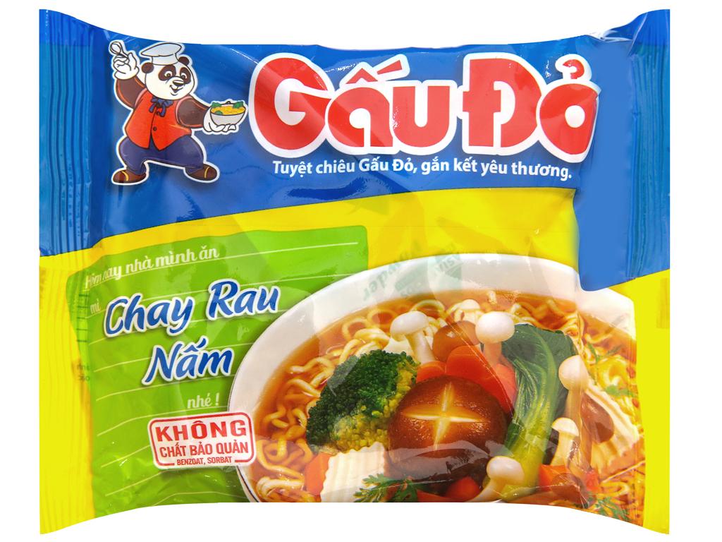 Combo 5 Mì Gấu Đỏ chay rau nấm gói 63g