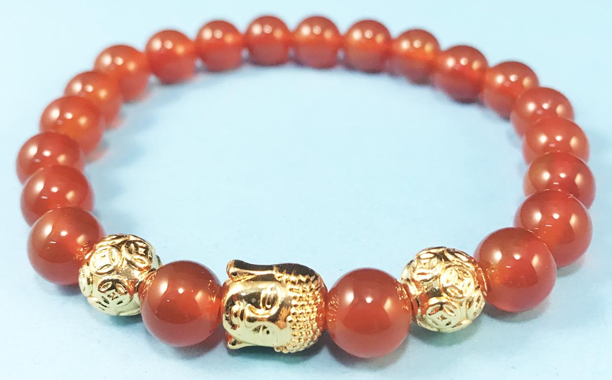 Vòng đeo tay đá mã não Đỏ mix Mặt Phật Vàng hạt Kim Tiền phong thủy cho người mệnh Hỏa mệnh Thổ