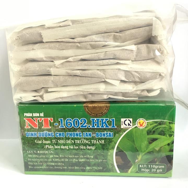 Phân bón chậm tan dạng túi lọc hộp 20 túi NT-1602 HK1 cung cấp dinh dưỡng cho phong lan, hoa cảnh từ cây con đến giai đoạn trưởng thành