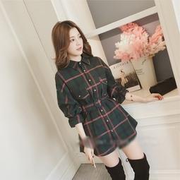 áo sơ mi nữ sọc caro dáng dài Mã: AM1261 - XANH LÁ