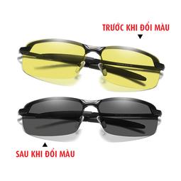 Kính đổi màu đi ngày và đêm gọng kim loại nhẹ, mắt kính polarized phân cực chống chói, chống tia UV - Mã số: MK1904