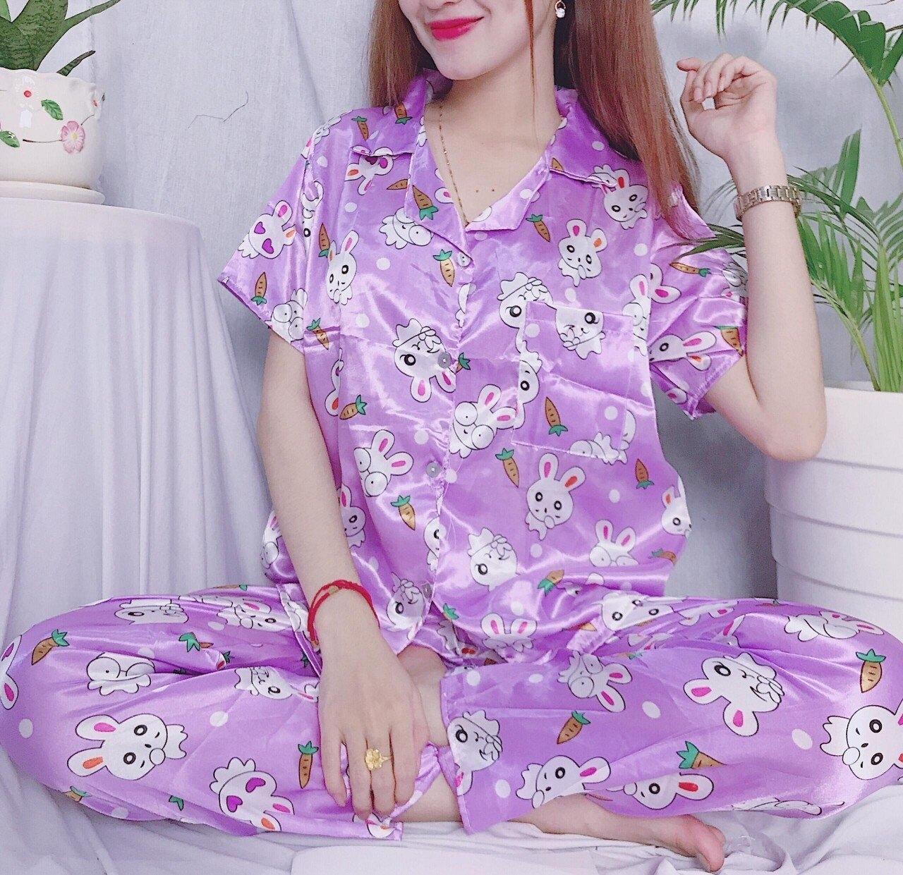 Đồ bộ pijama phi hoạt hình quần dài tay ngắn size dưới 50kg giao mẫu ngẫu nhiên