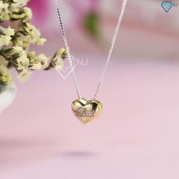 Dây chuyền bạc nữ, vòng cổ bạc nữ hình trái tim phồng khắc tên theo yêu cầu DCN0352