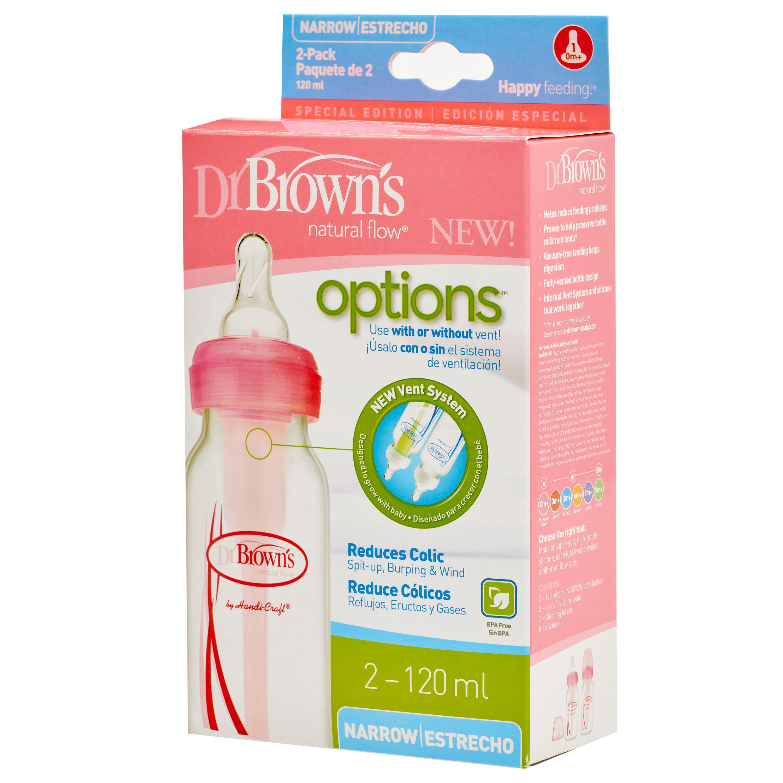 Combo 2 bình sữa Dr.Brown's cổ hẹp 120ml nhựa pp options màu hồng