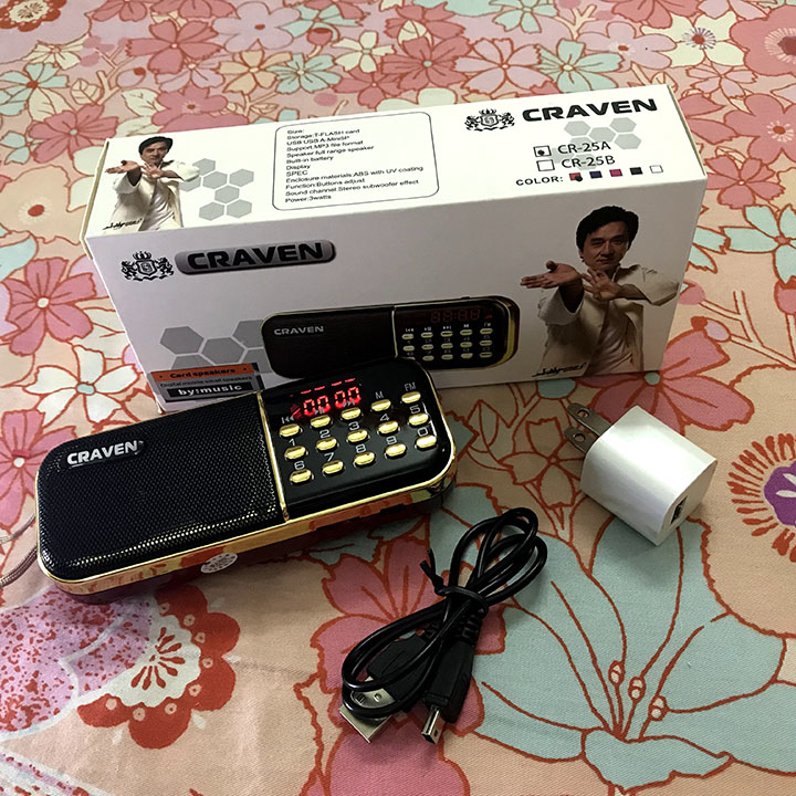 [Tặng sạc] Máy nghe nhạc pháp bằng thẻ nhớ, USB, Radio Craven CR-25A