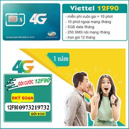 Miễn phí 12 tháng - Sim 4g viettel nghe gọi miễn phí 12F90 tặng 5gb/tháng