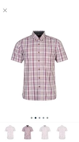 Áo sơ mi nam ngắn tay Pierre Cardin check Short Sleeve Shirt Mens cao cấp ( purple/pink - Xách tay UK )