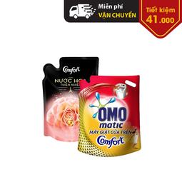 Combo nước giặt Omo Matic Comfort tinh dầu thơm cho máy giặt cửa trên túi 2.4Kg + Nước xả vải Comfort hương nước hoa thiên nhiên Rose túi 1.6L
