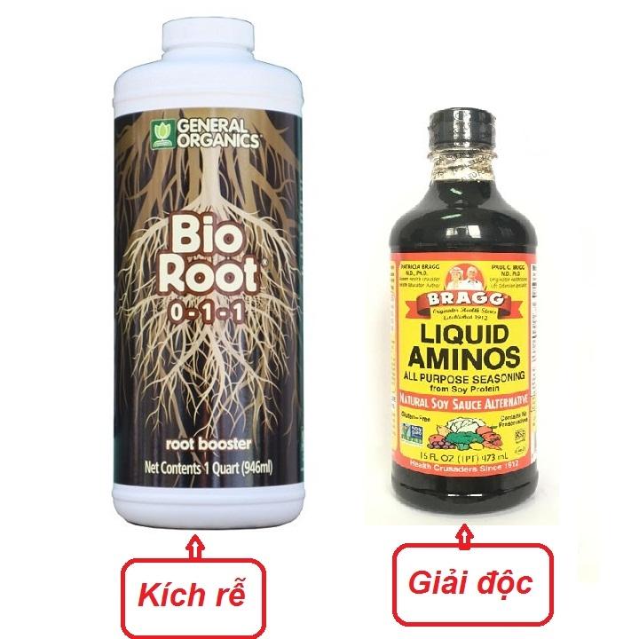 Cặp đôikích rễ cực mạnh Bio Root 0-1-1 chai 946ml và giải độcBRAGG LIQUID AMINOS 473MLnhập khẩu Mỹ