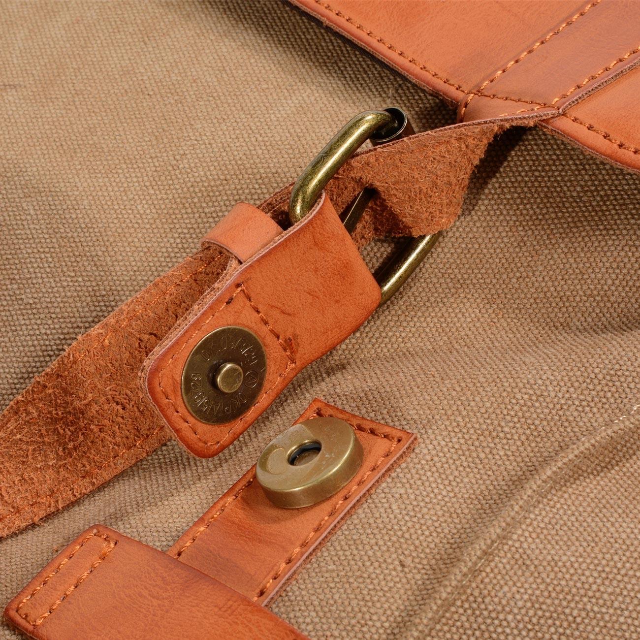 Balo vải bố cao cấp phối da bò AT Leather BL6820 màu vàng kaki