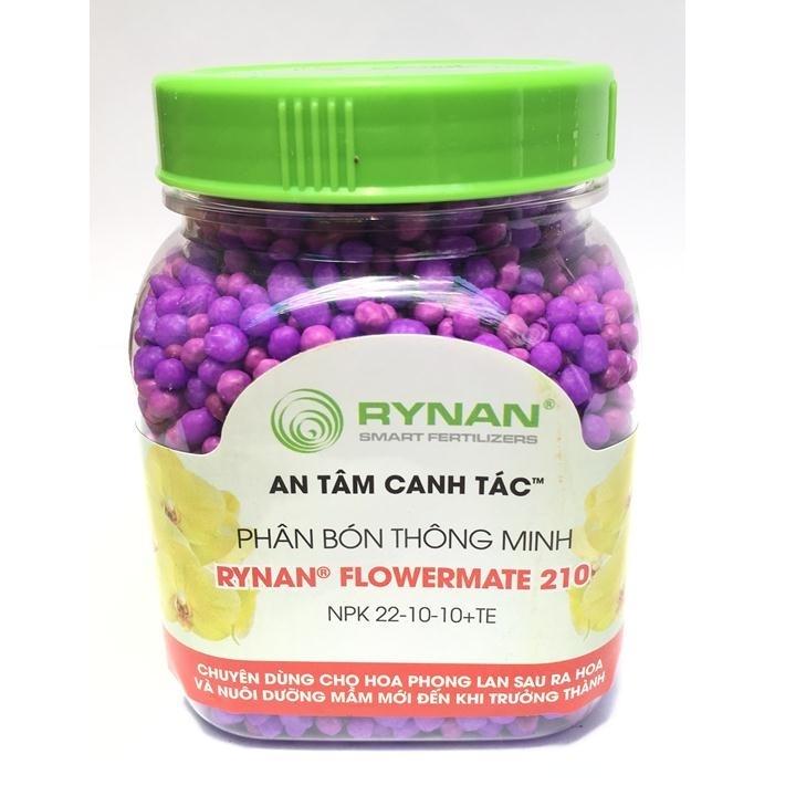 Phân tan chậm thông minh Rynan Flowermate 210 NPK 22-10-10 TE hũ 150g chuyên dùng cho phong lan sau ra hoa