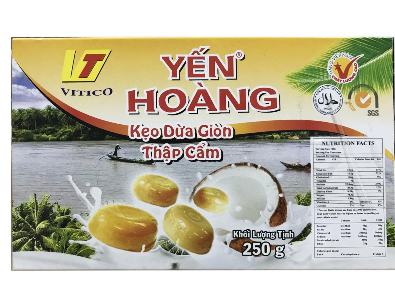 Kẹo Dừa Giòn Thập Cẩm Yến Hoàng – Hộp 250g