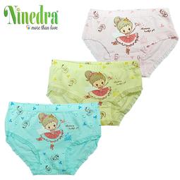 Set 3 Quần lót cotton cao cấp cho bé gái từ 3-10 tuổi - Màu ngẫu nhiên - Ninedra