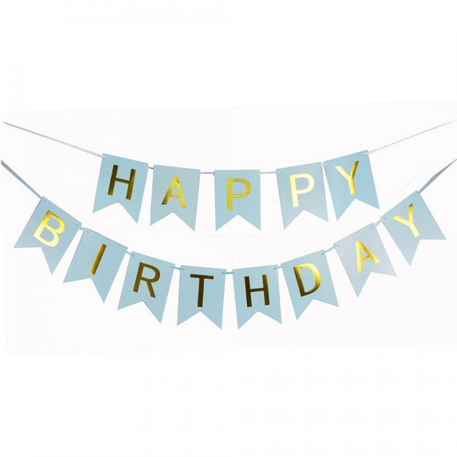 Dây treo sinh nhật Happy Birthday 14 x 20cm - Xanh da trời
