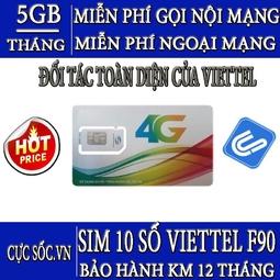 Sim Viettel 4G Gói F90, Tặng 5GB/Tháng + Gọi Miễn Phí Nội Mạng