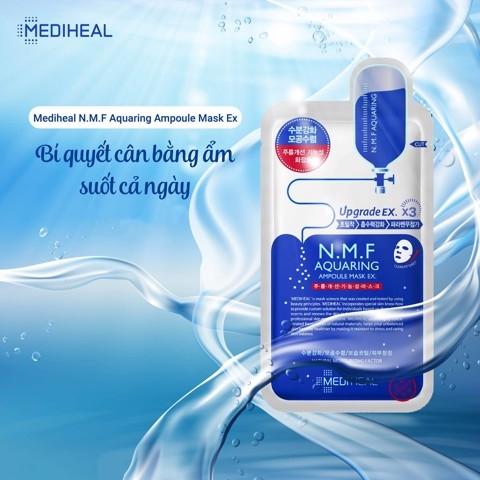 Combo 5 Mặt nạ cấp nước dưỡng ẩm cho da khô Mediheal N.M.F Aquaring Ampoule Mask Ex 25ml x5