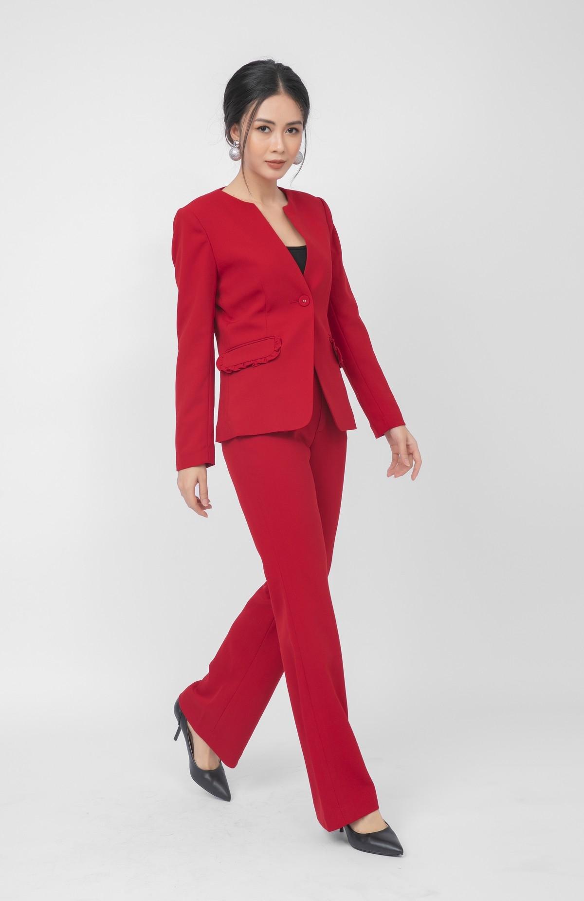 Áo vest nữ cách điệu HeraDG WT18023A màu đỏ
