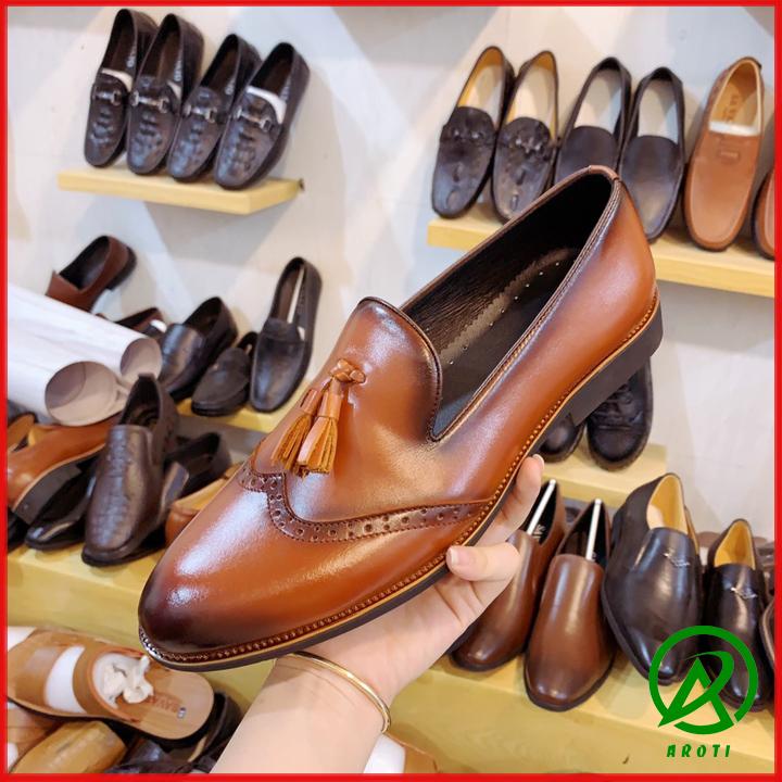 Giày Nam Da Bò Có Chuông Cách Điệu Mũi Độc Đáo L362
