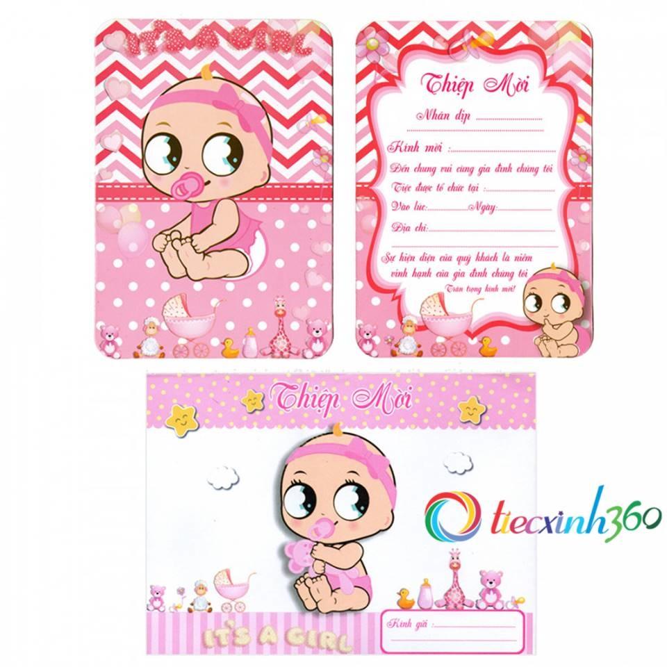 combo 10 thiệp mời sinh nhật baby - bé gái