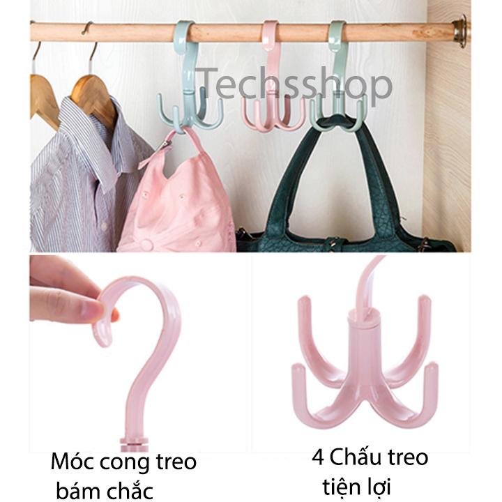 Combo 2 móc nhựa treo xoay 4 móc - móc treo xoay 360 độ 4 chấu treo cà vạt, dây nịt 4 chấu đa năng