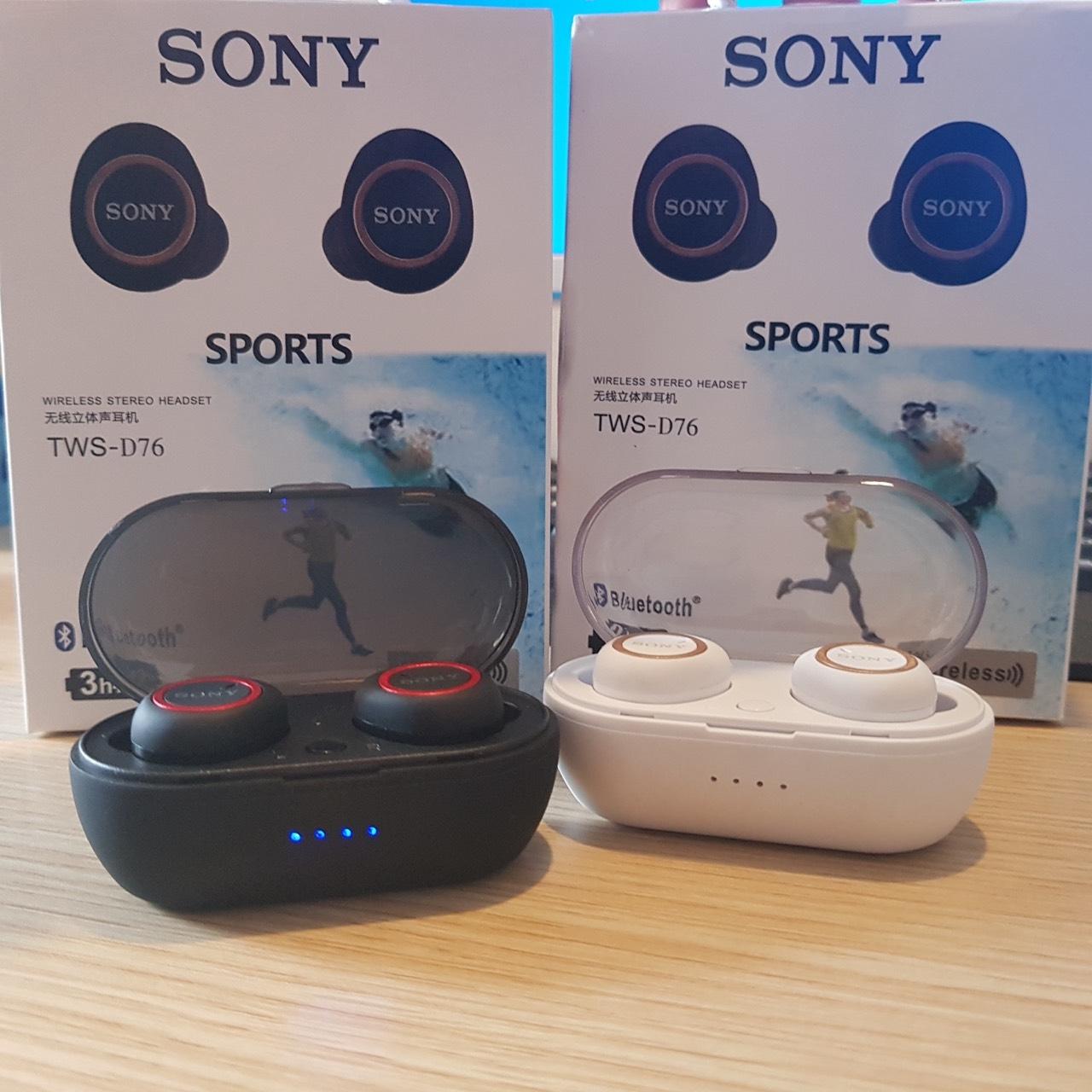 Tai nghe bluetooth Sony TWS D76 cao cấp kiểu airpod 2 tai nhét có dock sạc