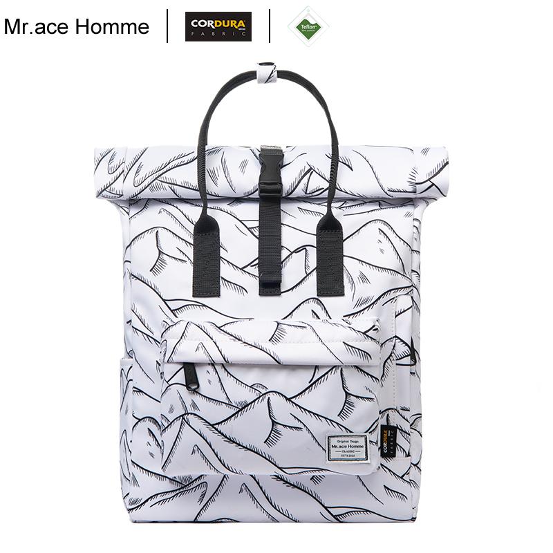 Balo Nữ Nắp Cuộn 12inch Mr.ace Homme MR19A1481B01 / Xám trắng vện núi