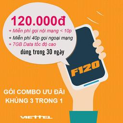 Sim Viettel 4G Gói F120, KM 7GB-Tháng + Gọi Miễn Phí Nội Mạng + Ngoại Mạng