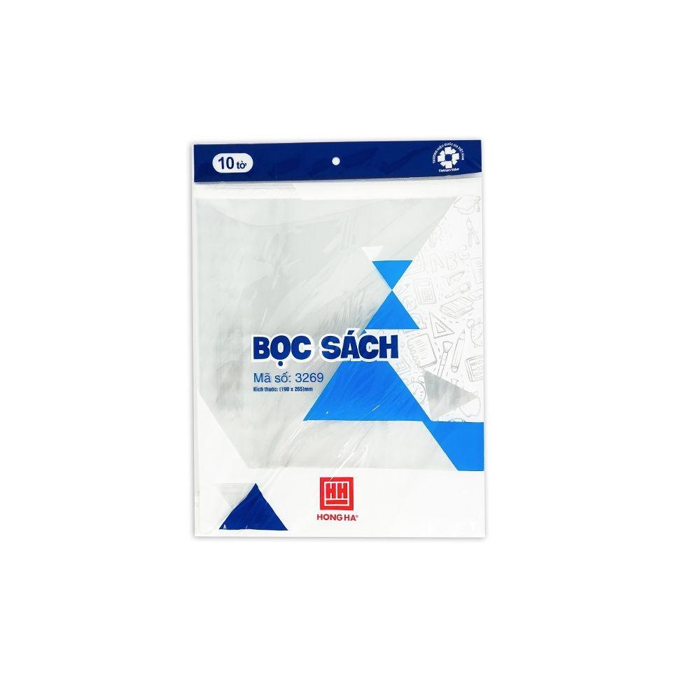 Bọc sách nylon Hồng Hà (190x265mm) 3269 tập 10 chiếc