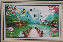 Tranh đính đá Phong Cảnh Đồng Hồ 3D